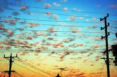 Soluppgång över förorter Arkivbilder