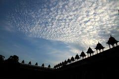 Soluppgång över Fatehpur Sikri, Uttar Pradesh, Indien Arkivfoton