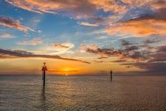 Soluppgång över golf av Mexico på St George Island Florida royaltyfri fotografi
