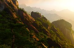 Soluppgång över gula berg arkivfoton