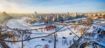 Soluppgång över huvudstad av Minsk, Vitryssland frysa morgon fotografering för bildbyråer