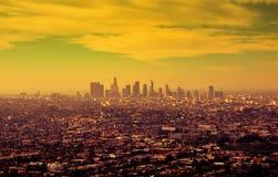 Soluppgång över i stadens centrum Los Angeles Arkivbild