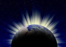 Soluppgång över jorden royaltyfri illustrationer