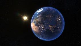 Soluppgång över jordplanetrotationen 360 grader som ses från utrymme Jord med solen Kretsad animering 4K 3D stock illustrationer