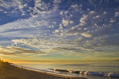 Soluppgång över kalifornisk havkust Arkivfoto