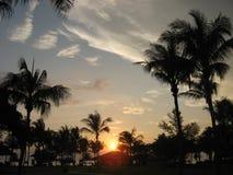 Soluppgång över landskap Arkivfoto