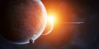 Soluppgång över planeter i utrymme royaltyfri illustrationer
