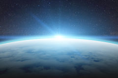 Soluppgång över planetjord i utrymme vektor illustrationer