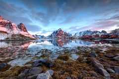 Soluppgång över Reine, Norge royaltyfri bild