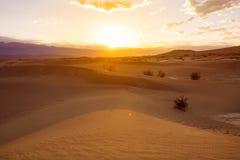 Soluppgång över sanddyn i Death Valley fotografering för bildbyråer