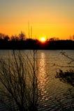 Soluppgång över sjön Arkivbilder
