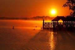 Soluppgång över sjön Zegrze 1 Royaltyfria Foton