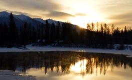 Soluppgång över svanfloden Arkivbild