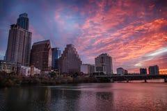 Soluppgång Austin Texas Downtown Arkivbilder