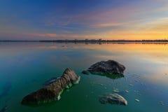 Soluppgång av Augusti på Dnieperen Arkivfoto