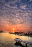 Soluppgång av Marina Barrage Arkivbild