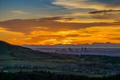 Soluppgång - Denver, Colorado royaltyfri bild