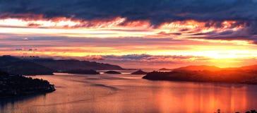 Soluppgång Dunedin, Nya Zeeland Arkivbilder