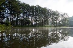 Soluppgång eller gryning i sjön på morgondelen 4 Arkivfoto