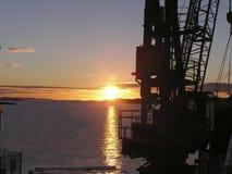 soluppgång för 2 kran Royaltyfria Bilder