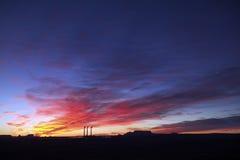 soluppgång för 3 buntar för arizona sidarök Arkivfoton