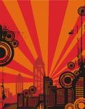 soluppgång för bakgrundsstadsserie Royaltyfria Foton