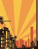 soluppgång för bakgrundsstadsserie Royaltyfria Bilder