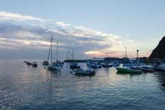 Soluppgång för det sceniska havet, ön, fjärdsikt av segelbåtar, yachter, fiskebåtar i Catalina Island härbärgerar, Kalifornien Fotografering för Bildbyråer