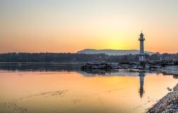 soluppgång för geneva fyrpaquis Arkivfoto