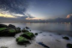 soluppgång för kust för 2 strand östlig arkivbild