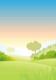 soluppgång för landsfjädersommar stock illustrationer