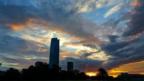 soluppgång för stadsbegreppsEuropa afton Arkivbilder