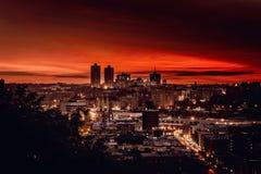 soluppgång för stadsbegreppsEuropa afton Fotografering för Bildbyråer