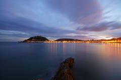 soluppgång för strandconchadonostia la Royaltyfria Bilder