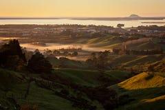Soluppgång från siktspunkt i Katikati, Nya Zeeland arkivfoto