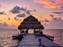 Soluppgång i Belize Arkivbilder