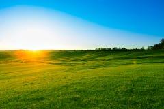 Soluppgång i berglandskap Äng för grönt gräs på solnedgången royaltyfri bild