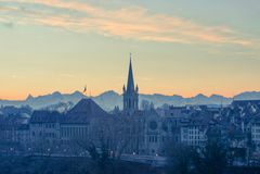 Soluppgång i Bern Arkivfoto