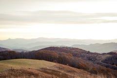 Soluppgång i blåa Ridge Mountains i North Carolina fotografering för bildbyråer