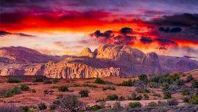 Soluppgång i den Utah öknen Royaltyfri Fotografi
