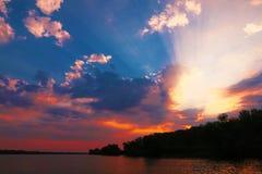 Soluppgång i Donaudelta Arkivfoto