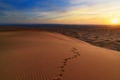 Soluppgång i dyn för ergChebbi sand nära Merzouga, Marocko arkivbild