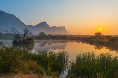 Soluppgång i Entabenien Safari Game Reserve, Sydafrika royaltyfri bild