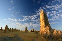 Soluppgång i höjdpunktöken Nambung nationalpark cervantes Västra Australien australasian Arkivbild