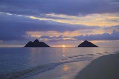 Soluppgång i hawaii Fotografering för Bildbyråer