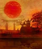 Soluppgång i Japan royaltyfri illustrationer
