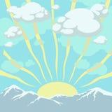 Soluppgång i kickberg Vektor Illustrationer