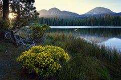 Soluppgång i Lassen parkerar, Lassen den vulkaniska nationalparken Arkivbilder