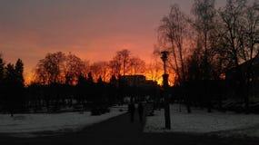 Soluppgång i Minsk arkivbild
