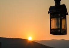 Soluppgång i Pushkar, Rajasthan stat, Indien Arkivbilder